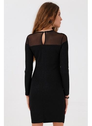 Jument Sıfır Yaka Uzun Kol Elbise -Siyah  Siyah